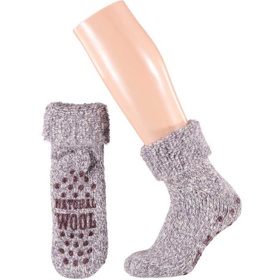Apollo Natural Wool Fashion Dames Huissokken Antislip - Lila