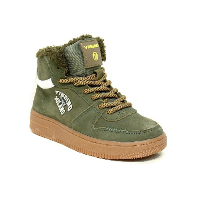 Vingino Sneaker Leder Elia Mid Legergroen - TEDDY GEVOERD (OP=OP!)