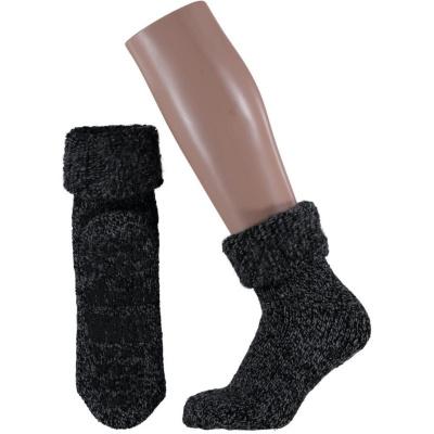 Foto van Apollo Natural Wool Heren Huissokken Antislip - Zwart