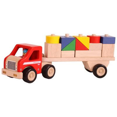 Santoys Houten Rubberwood Truck met Aanhanger en Blokken