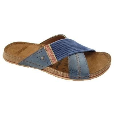 Fischer Heren Kruisband Slippers 0801 Blauw (OP=OP)
