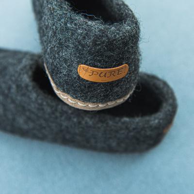 Pure Wool Vilten Pantoffel VSL03 Antraciet