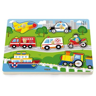 Viga Toys Houten Knopjespuzzel Voertuigen met Geluid - 7 stukjes