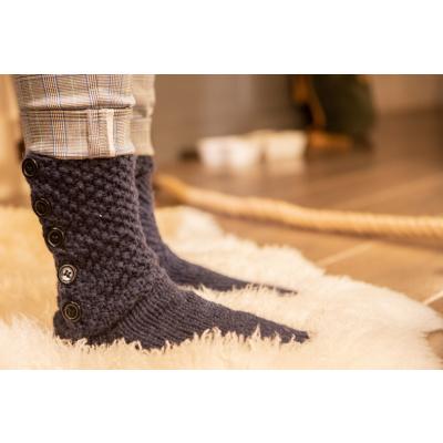 Pure Wool Slofsokken met lederen Zool Blauw ONE SIZE