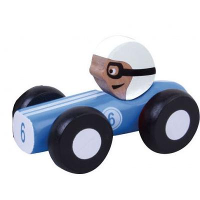 Foto van Jouéco Houten Raceauto 9 cm Blauw 80048 in geschenkdoos