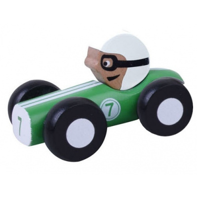 Jouéco Houten Raceauto 9 cm Groen 80048 in geschenkdoos