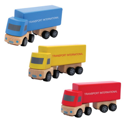DuDutoys Houten Truck met Oplegger Blauw