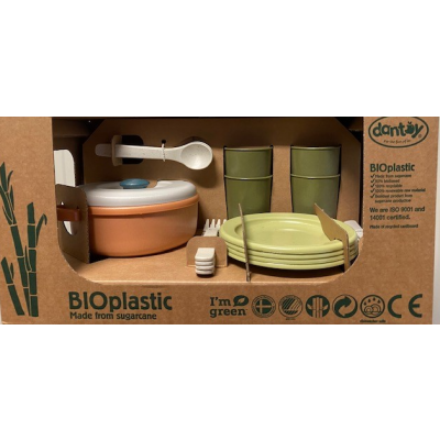 Dantoy BIOplastic Eetservies speelset - 22 delig in luxe giftbox Dark Ocean Blue