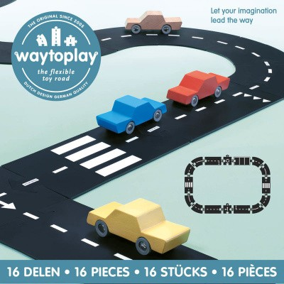 Waytoplay Autoweg, Express Way - Flexibele Wegdelen Set 16 delig