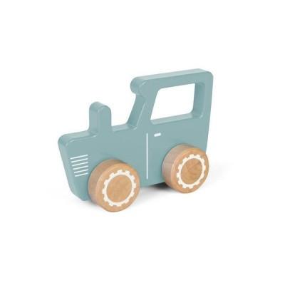 Foto van Little Dutch Houten Grijp-duw Tractor Blauw/Groen pastel