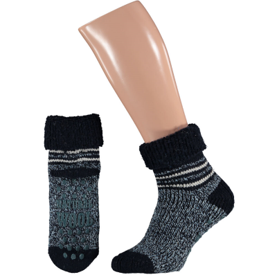 Foto van Apollo Natural Wool Fashion Heren Huissokken Antislip - Donkerblauw