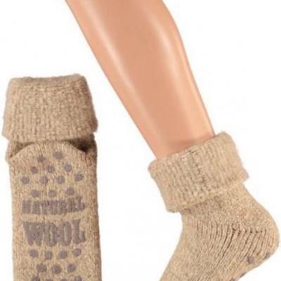 Apollo Natural Wool Heren Huissokken Antislip - Beige