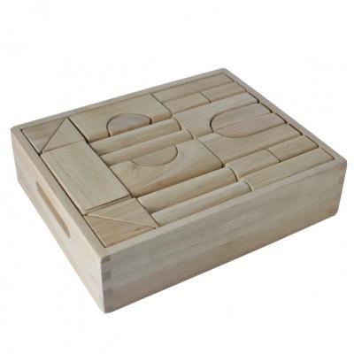 Blokkenset Rubberwood in kist 40 delig