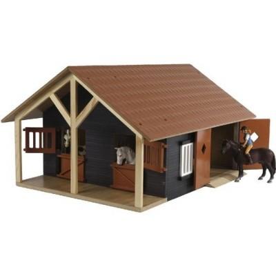 Foto van Kids Globe Paardenstal met 2 boxen en berging bruin