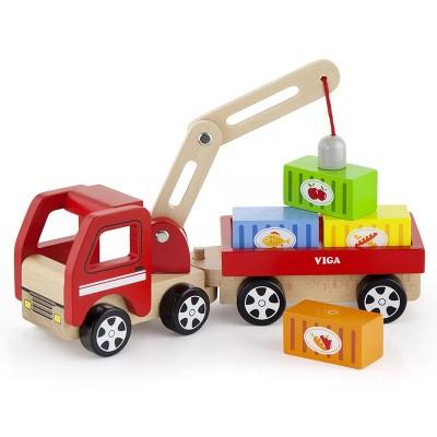 Viga Toys Houten Truck met Kraan en Aanhanger