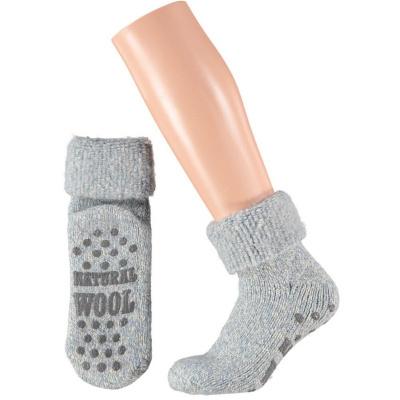 Apollo Natural Wool Fashion Dames Huissokken Antislip - Lichtblauw