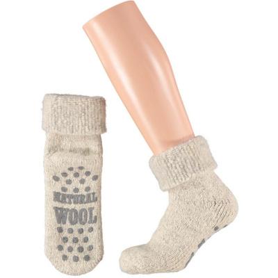 Apollo Natural Wool Heren Huissokken Antislip - Lichtgrijs