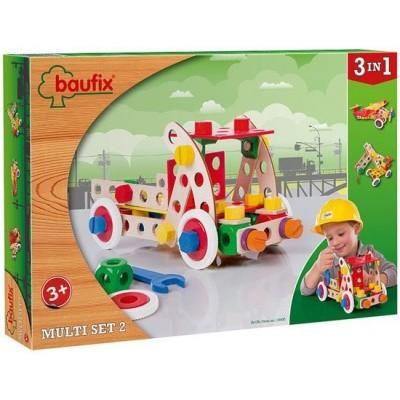 Foto van Baufix Multiset 2 - Houten Bouwconstructie Speelgoed - 95 delig