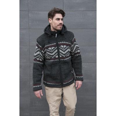 Pure Wool Heren Vest WJK-1314 Antraciet/Ecru/Rood