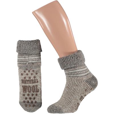 Foto van Apollo Natural Wool Fashion Heren Huissokken Antislip - Taupe