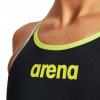 Afbeelding van Arena dames badpak One Double Cross Back black green zilver