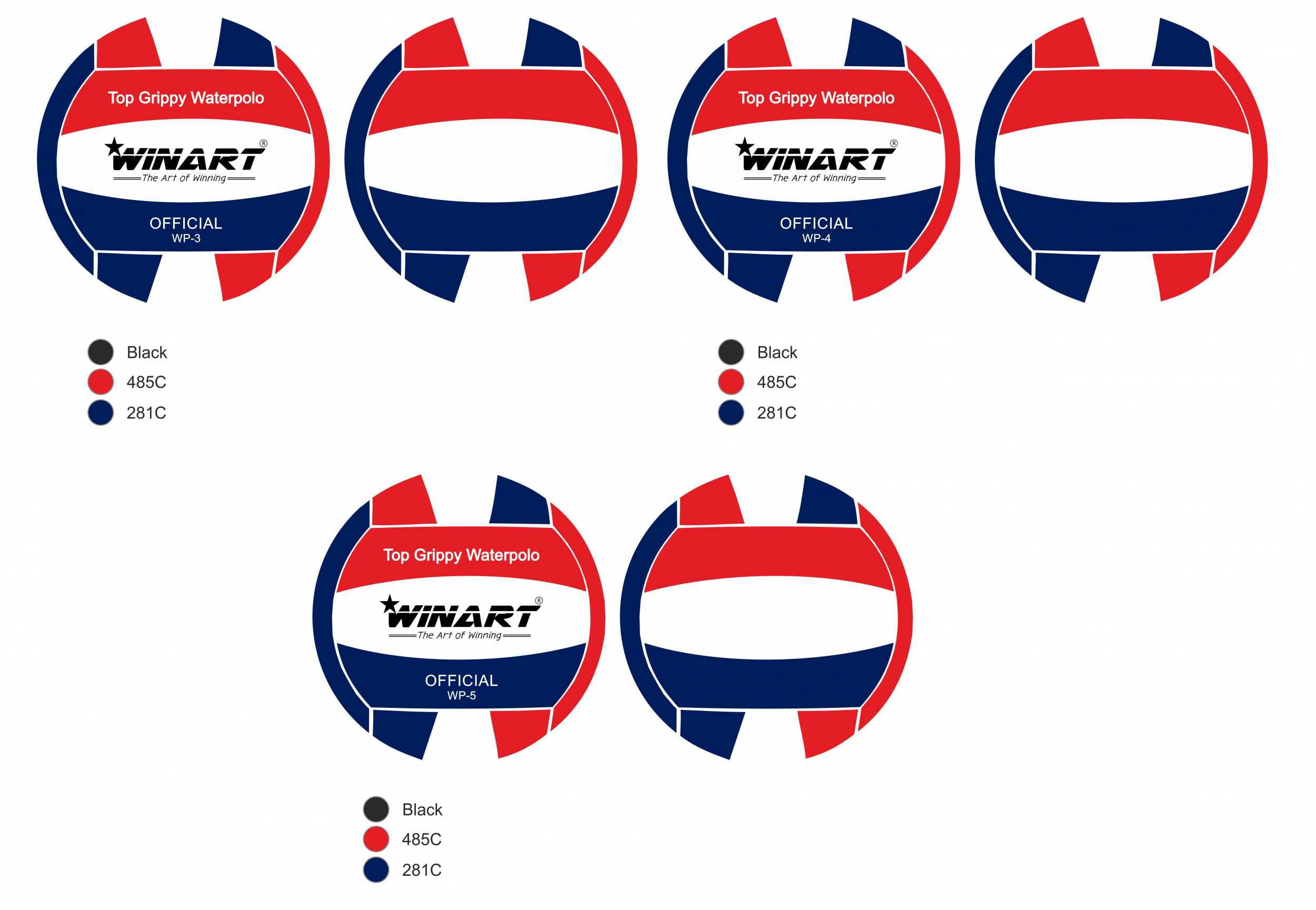 Winart Waterpolobal red/white/blue mt. 5