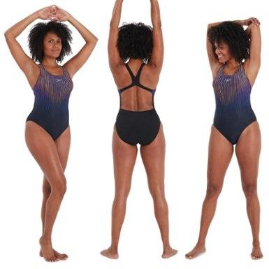 Speedo dames badpak placement powerback black/purple