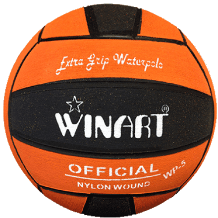 Winart Waterpolobal oranje/ zwart mt. 5