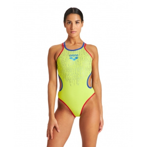 Arena dames badpak One Shiny Double Cross Back soft green