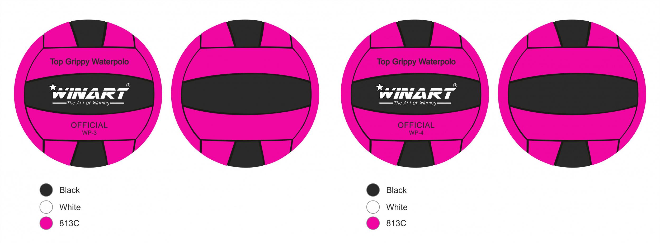 Winart Waterpolobal roze/zwart mt. 3