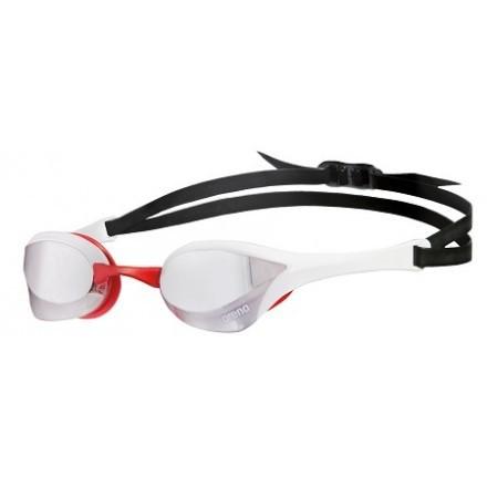 Arena wedstrijdzwembril Cobra Utlra Mirror silver-white-red