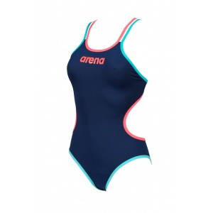 Arena dames badpak One Double Cross Back navy-red