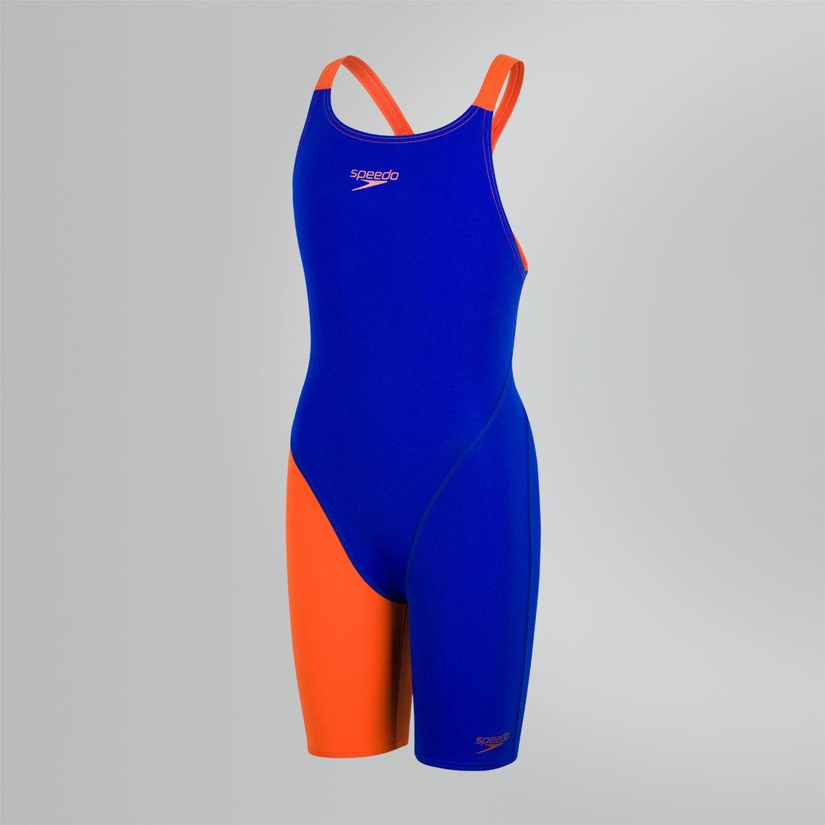 Speedo meisjes wedstrijdbadpak oranje-blauw