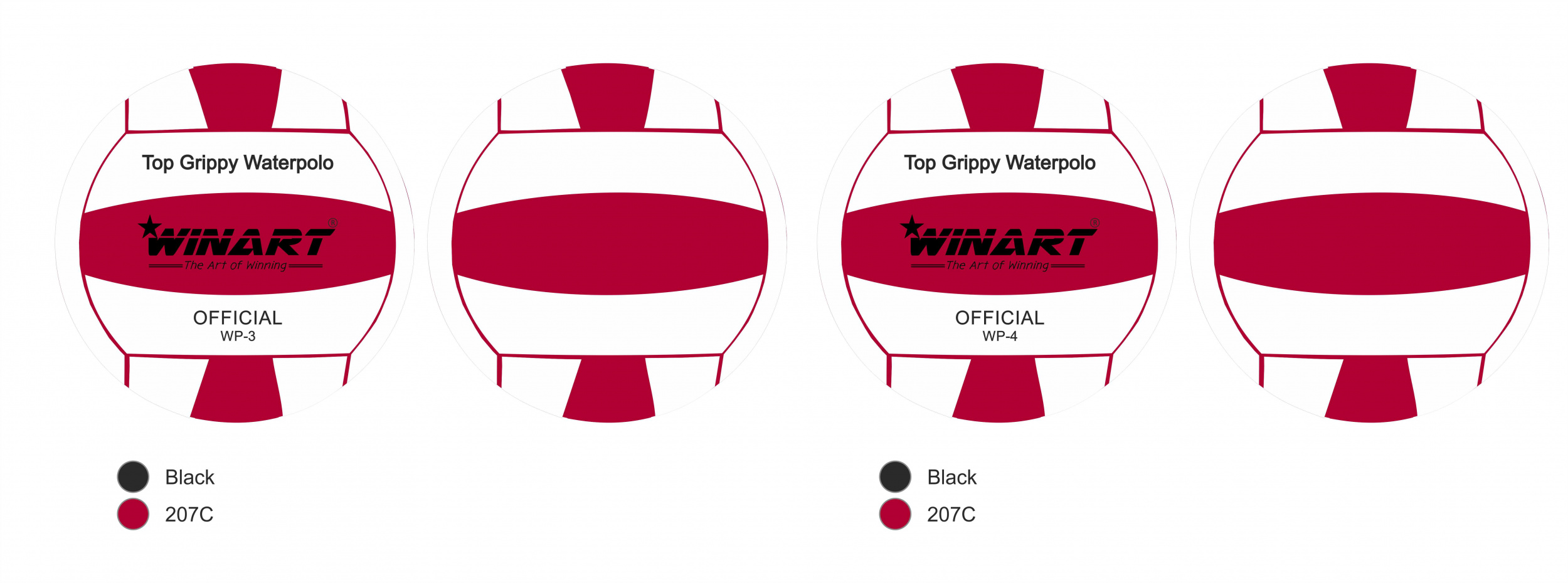 Winart waterpolobal Rood/ Wit No. 4