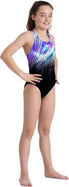 Speedo meisjes badpak Digital Placement Splashback Black/Purple