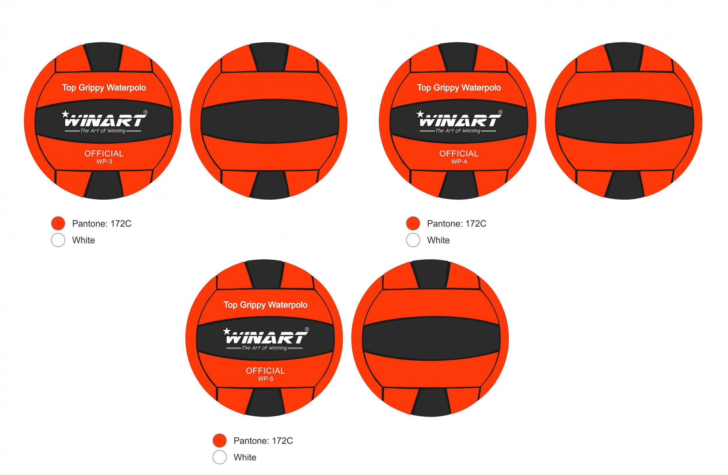 Winart Waterpolobal oranje/zwart mt. 4