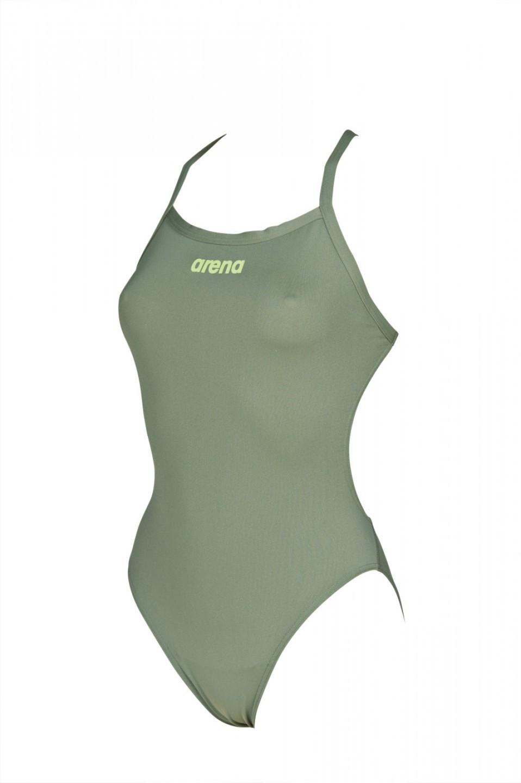 Arena damesbadpak Solid army-shiny-green