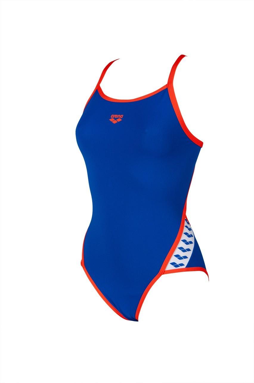 Arena Damesbadpak Team Stripe blue-nectarine