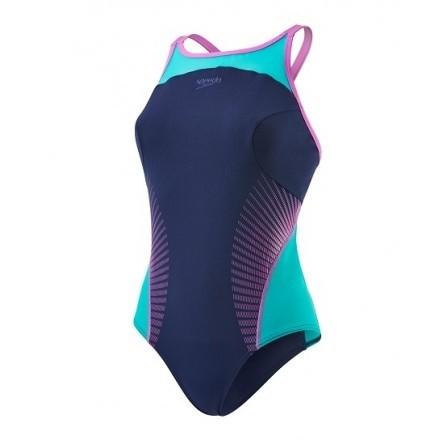 Speedo damesbadpak Body Position Navy/Green/pink
