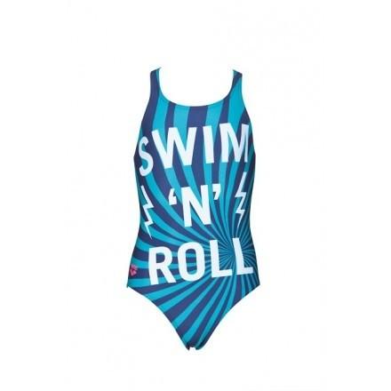 Arena meisjes badpak Swim/Roll V-Back navy