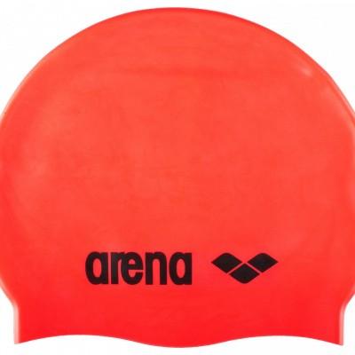 Foto van Arena badmuts classic silicone fluo-red, black