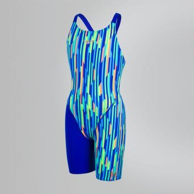 Foto van Speedo meisjes wedstrijdbadpak blauw-oranje-blauw