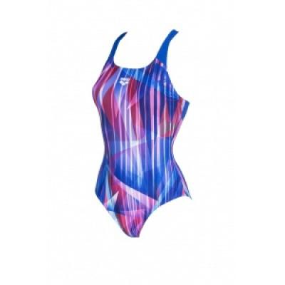 Foto van Arena damesbadpak Shading Prism Swim pro back blue multi