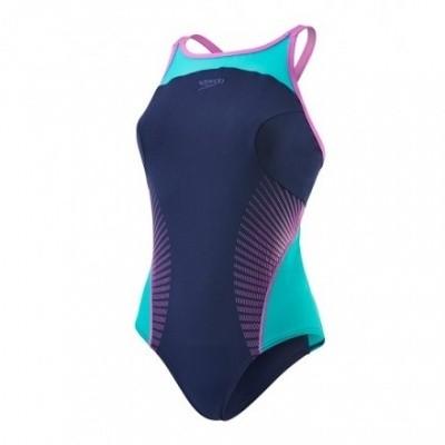 Foto van Speedo damesbadpak Body Position Navy/Green/pink