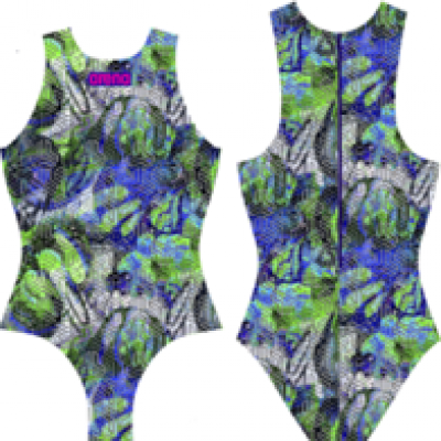 Foto van Arena waterpolobadpak Kikko black green multi