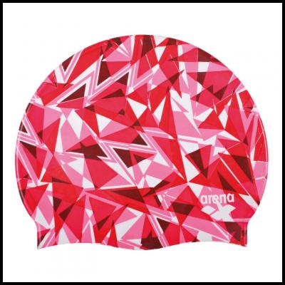 Foto van Arena badmuts Shattered Glass fluo-red