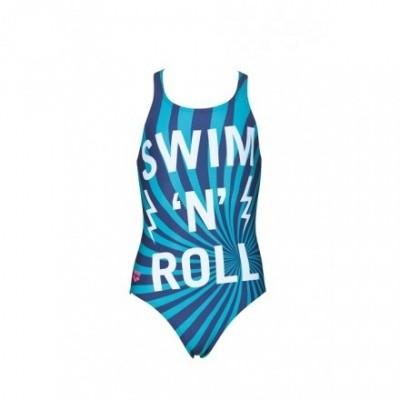 Foto van Arena meisjes badpak Swim/Roll V-Back navy