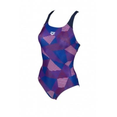 Foto van Arena damesbadpak Striped Geo Swim pro back navy-red-multi
