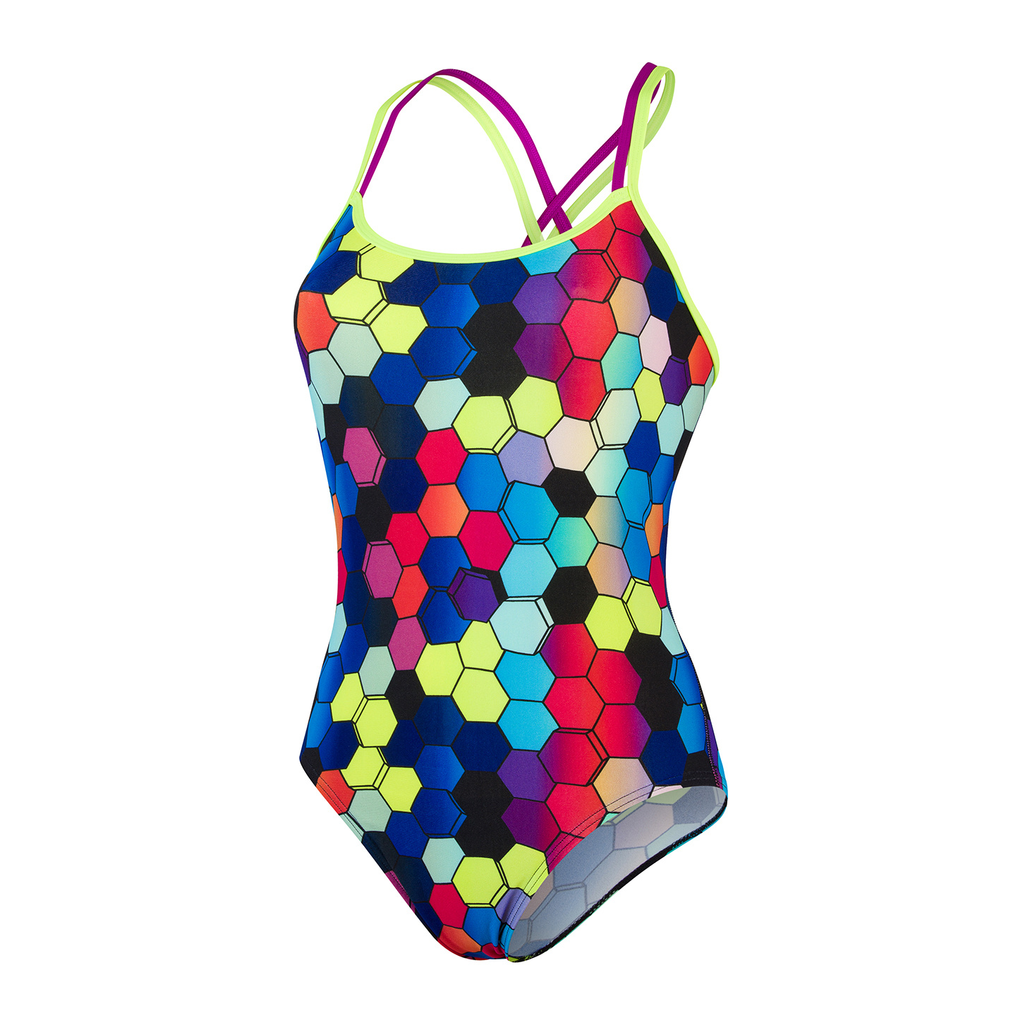 Speedo dames badpak Allover Double XB yel/pur
