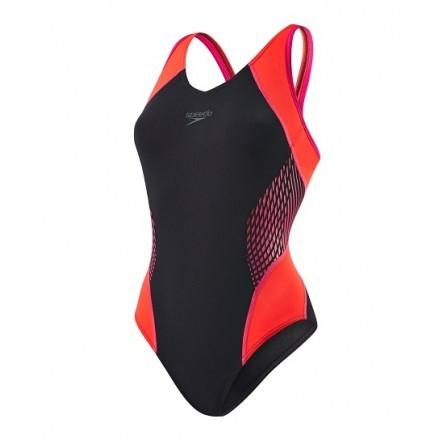 Speedo damesbadpak fit zwart/ oranje/ roze